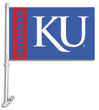 NCAA Kansas Jayhawks Car Flag with Wall Bracket