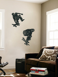 Skate Boarders In Action With Graphic Style Coloring (Black and Grey) Huge Mural Art Print Poster
