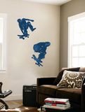 Skate Boarders In Action With Graphic Style Coloring (Blue) Huge Mural Art Print Poster