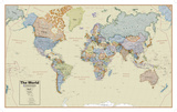 Hemispheres Boardroom Series World Wall Map, Educational Poster Giant Poster