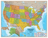 Hemispheres Blue Ocean USA Wall Map, Laminated Educational Poster Laminated Poster