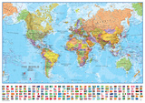 World 1:40 Wall Map, Laminated Educational Poster Laminated Poster