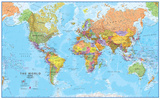 World MegaMap 1:20 Wall Map, Laminated Educational Poster