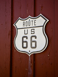 Close-Up of Route 66 Sign on Wall , Route 66, Tucumcari, New Mexico, Usa