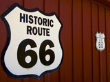 Close-Up of Route 66 Sign on Wall , Route 66,