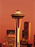 View of Space Needle and Seattle Buildings, Seattle, Washington, USA