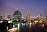 Evening Skyline, Chao Phraya River Waterfront, Bangkok, Thailand
