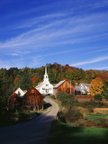 Waits River, View of Church and Barn in Autumn, Northeast Kingdom, Vermont, USA