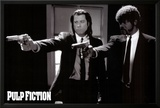 Pulp Fiction –  Duo with Guns (Jackson and Travolta) B & W Movie Poster Lamina Framed Poster