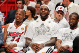 Miami, FL - JUNE 9 Miami Heat players, from left, Ray Allen, LeBron James and Dwyane Wade