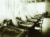 Influenza Ward at US Army Hospital in Aix-Les-Bains, France During Spanish Flu Epidemic of 1918-19