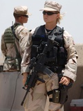 Female Soldier in Combat Gear at Sather Air Base in Iraq, Ca. 2008
