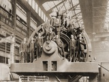 Businessmen Pose on a Giant Westinghouse Electrical Generator, 1918