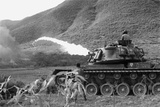 Vietnam War. Us Marine Corps Flame Thrower Tank in Action, Ca. 1966
