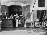 Men Eating Long Spaghetti at a Street Food Shop in Naples, Italy, Ca. 1900 Premium Poster