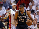 Miami, FL - June 20: Tim Duncan and Chris Andersen