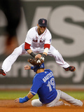 Boston, MA - June 27: Dustin Pedroia and Jose Bautista