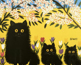 Three Black Cats Art Print