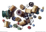 Wooden Spools and Old Buttons