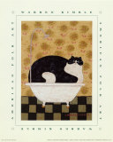 Cat in Hot Tin Tub Art Print