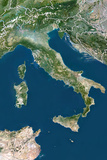 Buy Italy, True Colour Satellite Image with Border at AllPosters.com