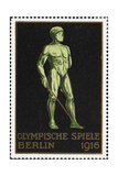 A Naked Fencer. Germany 1916 Berlin Olympic Games Poster Stamp, Unused