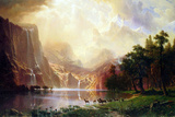 Albert Bierstadt Between the Sierra Nevada Mountains Art Print Poster