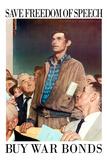 Norman Rockwell Save Freedom of Speech WWII War Propaganda Poster
