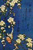 Katsushika Hokusai Bullfinch and Drooping Cherry Poster
