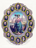 Digitally Restored Print Featuring Lady Liberty And the First Sixteen Presidents