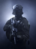 Special Operations Forces Soldier Equipped with Night Vision And An HK416 Assault Rifle