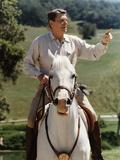 Digitally Restored Vector Photo of President Ronald Reagan On Horseback