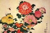 Katsushika Hokusai Chrysanthemums and a Bee Poster