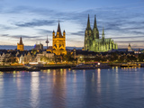 River Rhine, and Cathedral (Dom), Cologne (Koln), North Rhine Westphalia, Germany