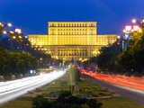 Unirii Street Looking Towards the Palace of Parliament or House of the People, Bucharest, Romania