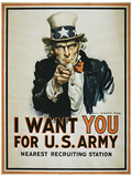 I Want You (Uncle Sam) Vintage Style Propaganda Poster