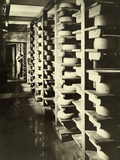 Cakes of Cheese by the Hundreds Dry and Cure on Wooden Racks, 1916