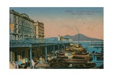 Naples - View of the Grand Hotel Santa Lucia and Mount Vesuvius. Postcard Sent in 1913