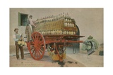 Loading Bottles of Wine onto a Cart, Florence. Postcard Sent in 1913