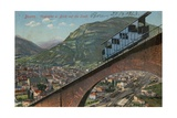 Bolzano - Funicular Railway and View of the Town. Postcard Sent in 1913