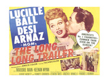 THE LONG LONG TRAILER, top l-r: Lucille Ball, Desi Arnaz on title lobbycard, 1954.