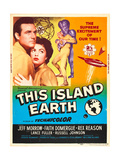 THIS ISLAND EARTH, from left: Rex Reason, Faith Domergue, Jeff Morrow on poster art, 1955.