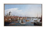 View of the River Thames with St. Paul's and Old London Bridge