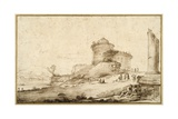 Landscape with a Broken Column, a Castle and Numerous Figures in the Foreground at the Right