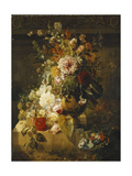 Roses, Convolvuli, Carnations, Hollyhocks, Peonies, Lilac and Other Flowers in a Vase
