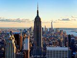 Buy Downtown at Sunset, Empire State Building and One World Trade Center (1WTC), Manhattan, New York at AllPosters.com