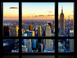 Window View, Empire State Building and One World Trade Center (1WTC) at Sunset, Manhattan, New York