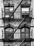 Fire Escape, Stairway on Manhattan Building, New York, United States, Black and White Photography