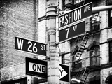 Signpost, Fashion Ave, Manhattan, New York City, United States, Black and White Photography Photographic Print