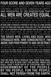 Gettysburg Address (Black) Text Art Print Poster